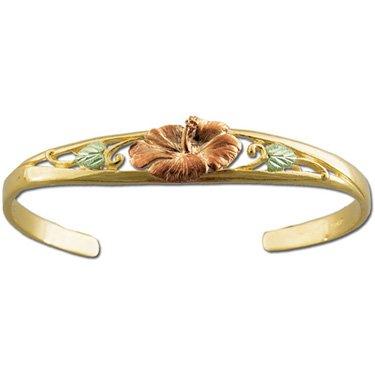 Black Hills Gold Hibiscus - Solid Gold - Cuff Bracelet