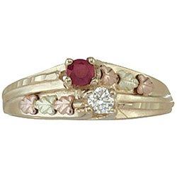 Black Hills Gold Ring Ladies  .10 Diamond & Ruby