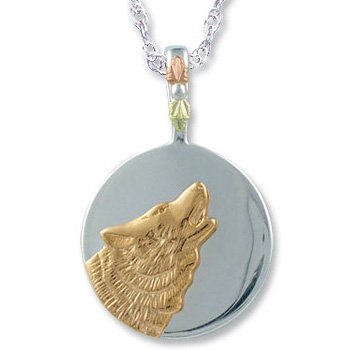 Black Hills Gold Howling Wolf Sterling Silver Necklace