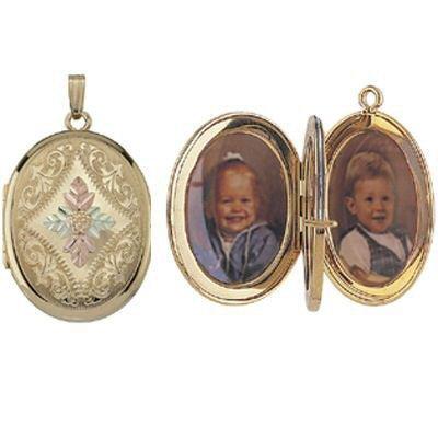 Black Hills Gold Locket Necklace 4 Picture Oval
