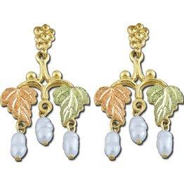 Black Hills Gold Rice Pearl Dangle Post Earrings
