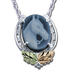 Black Hills Gold Agate Horse Cameo Silver Necklace