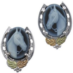 Black Hills Gold Agate Horse Cameo Silver Earrings