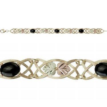 "Black Hills Gold Bracelet Black Onyx Cabochon Open 7"""