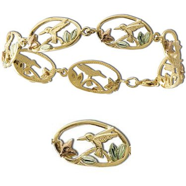 Black Hills Gold Hummingbirds & Flowers Bracelet