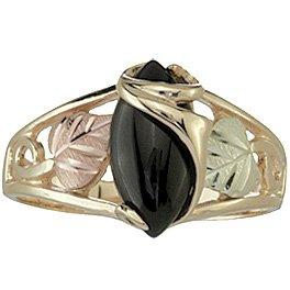 Black Hills Gold Ring Ladies Black Onyx Cabochon