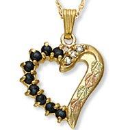 Black Hills Gold Sapphires & Diamonds Heart Necklace