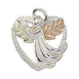 Black Hills Gold Necklace  Praying Angel & Sterling Silver Heart