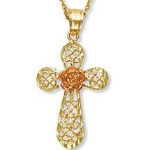 Black Hills Gold Rose Filigree Cross Necklace