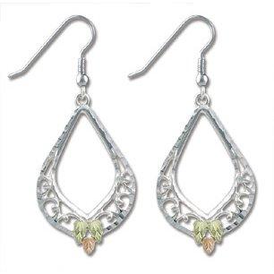 Black Hills Gold On Sterling Silver Filigree Dangle Earrings