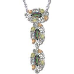 Black Hills Gold 3 Mystic Fire Topaz Silver Necklace
