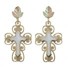 Black Hills Gold Earrings White Mother Of Pearl Cross Post