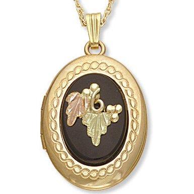 Black Hills Gold Leaves & Grapes Black Onyx Locket Necklace