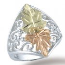 Black Hills Gold 2 Leaves Sterling Silver Filigree Ladies Ring