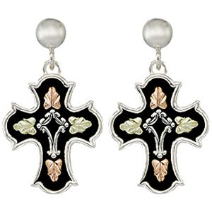 Black Hills Gold Earrings Antiqued Cross Sterling Silver