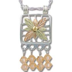 Black Hills Gold With Peach Swarovski Crystal Necklace