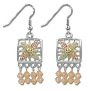 Black Hills Gold With Peach Swarovski Crystal Earrings
