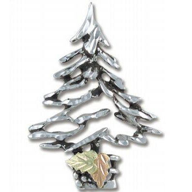 Black Hills Gold On Sterling Silver Christmas Tree Pin