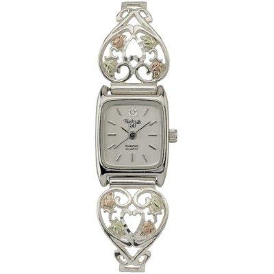Black Hills Gold Watch Ladies Diamond Sterling Silver Heart