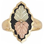 Black Hills Gold Ring Ladies 2 Leaves Antiqued