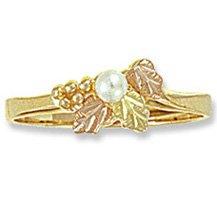 Black Hills Gold 3 Leaves & White Pearl Ladies Ring