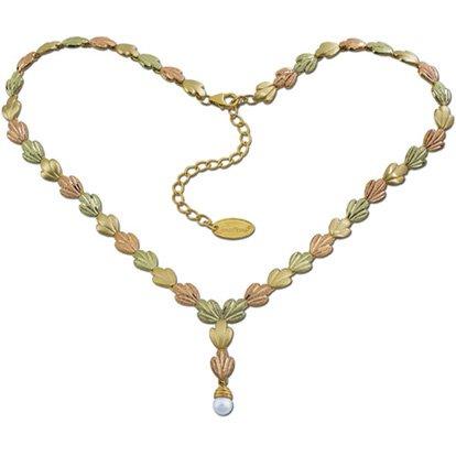 Black Hills Gold Pearl Drop Solid 10K & 12K Gold Necklace