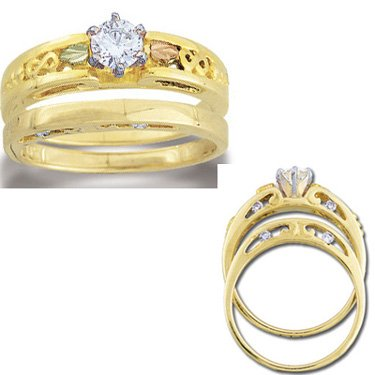 Black Hills Gold Diamond Infinity Wedding Set .41 14K