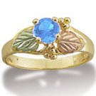 Black Hills Gold Round Blue Topaz Ladies Ring