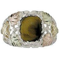 Black Hills Gold Ring Mens On Sterling Silver Tiger's Eye 6 Leaves