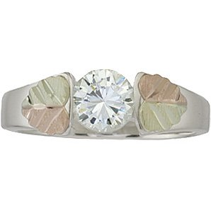 Black Hills Gold Ring Ladies White Clear Cubic Zirconia Sterling Silver