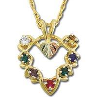 """Black Hills Gold Heart 7 GENUINE Gemstone Acrostic Necklace Landstrom's """" Dearest """" Line"""