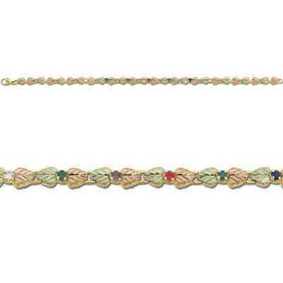 """Black Hills Gold Heart 7 GENUINE Gemstone Acrostic Bracelet Landstrom's """" Dearest """" Line"""