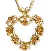 Black Hills Gold Roses & Kisses Heart Necklace