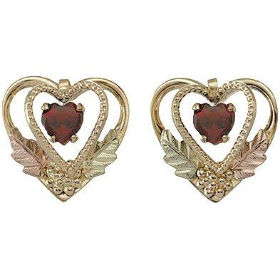 Black Hills Gold Earrings Garnet 2 Hearts Post
