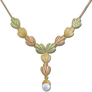 Black Hills Gold Pearl Drop Festoon Chain Necklace