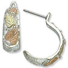 Black Hills Gold Sterling Silver Hoop Post Earrings