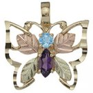 Black Hills Gold Necklace Amethyst & Blue Topaz Butterfly