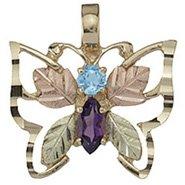 Black Hills Gold Necklace Amethyst & Blue Topaz Butterfly