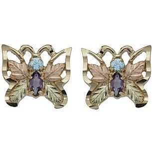 Black Hills Gold Earrings Amethyst & Blue Topaz Butterfly Post
