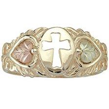 Black Hills Gold Ring Ladies Leaves Cross Hearts