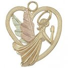 Black Hills Gold Necklace Praying Angel In Heart