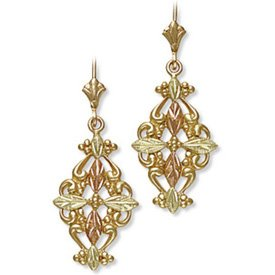 Black Hills Gold Cross & Gold Filigree Earrings
