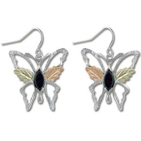 Black Hills Gold Black Onyx Sterling Silver Butterfly Earrings