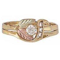 Black Hills Gold Ring Ladies Wedding Set 4 Diamonds .23 Bridal