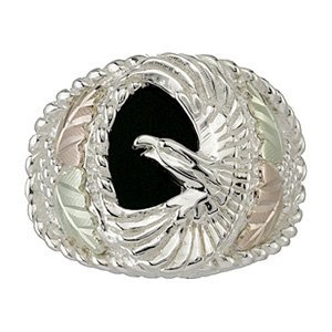 Black Hills Gold Ring Mens On Sterling Silver Black Onyx & Eagle