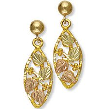 Black Hills Gold 4 Leaves Grapes Post Dangle Earrings