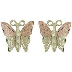 Black Hills Gold Earrings 4 Leaf Butterfly Post