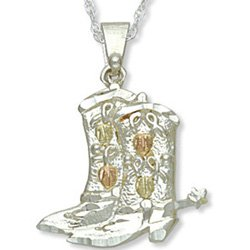 Black Hills Gold Sterling Silver Cowboy Boots Necklace