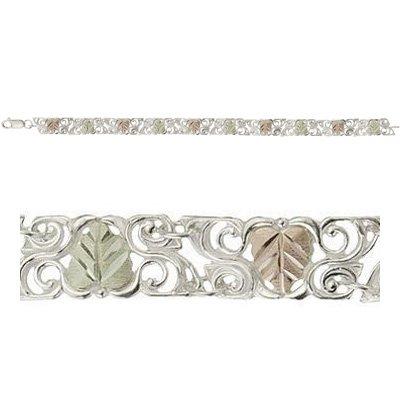 """Black Hills Gold Bracelet On Swirling Sterling Silver 7 1/2"""""""