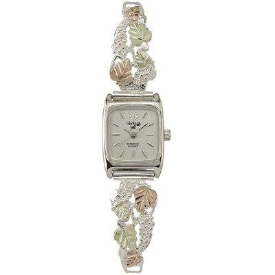 Black Hills Gold Watch Ladies 8 Leaves Diamond & Sterling Silver
